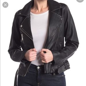 Love Token Faux Leather Studded Jacket Size S